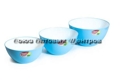 """Миска двухцветная """"Fresh Line"""" d200, 2 л бело-голубая М702БГ"""