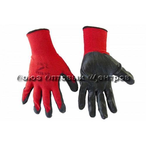 перчатки облит. черно-красные  шершавый 720/12 Арт 380-1