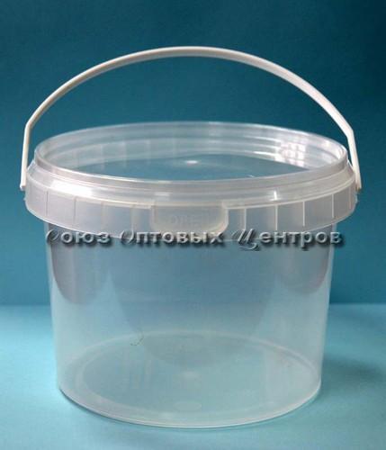 Ведро одноразовое пласт 0,8л с ручкой и крышкой (прозрачный)