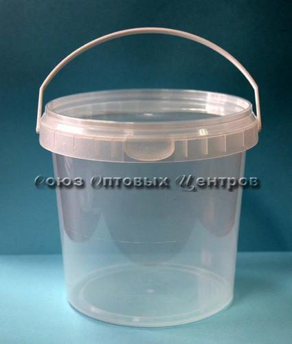 Ведро одноразовое пласт 1,1 л с ручкой и крышкой (прозрачный)