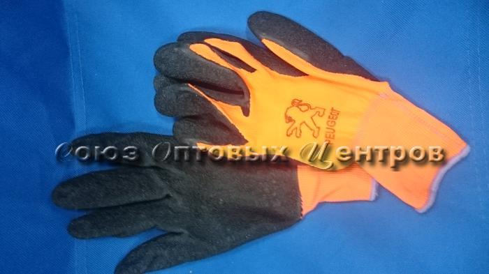 Перчатки облитые оранжевые шершавые 600/960/10 (Арт. 0600)