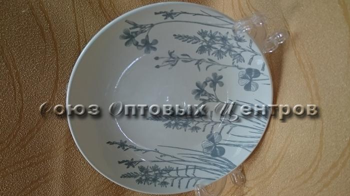 "Тарелка Соната 190мм, гр. 8, ""Гербарий-травы Серый"" 061 уп/20 шт."