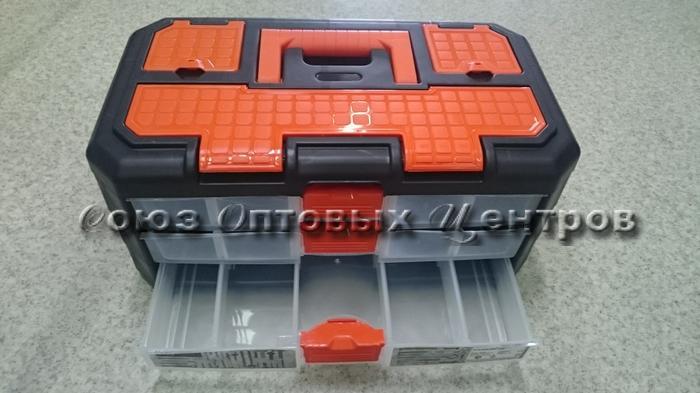 сет д/мелочей GRAND 3 секции черный/оранжевый