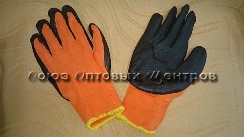 Перчатки Оранжевый Чёрн Зимн Толст № 300/480 (Арт. 300-1)