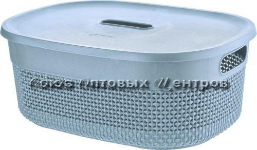 Корзина д/хранения с крышкой  OSLO 18л туманно-голубой  РТ1333ТГ-10