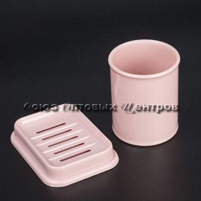 Набор стаканчик и мыльница пудровый РТ1315ПД-12