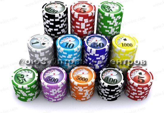 Фишки для покера 5 цветов с номиналом (уп. 100 шт)