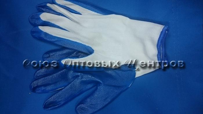 """Перчатки облитые Синие дор.""""95-С/960/12/10 Арт 695С"""