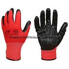 перчатки нейлон Красные черный облив 12/960/ Арт 504