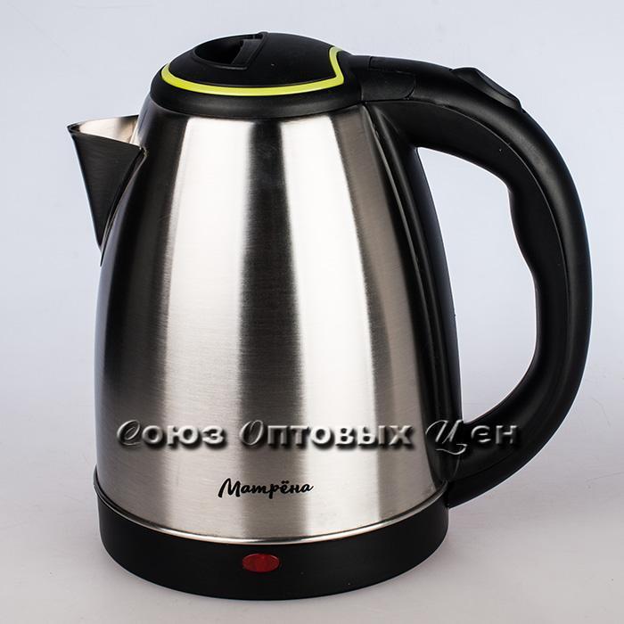 Чайник электрический, 1500Вт, 1.8л, диск, нерж.сталь, МАТРЕНА МА-001 зеленый (005458)