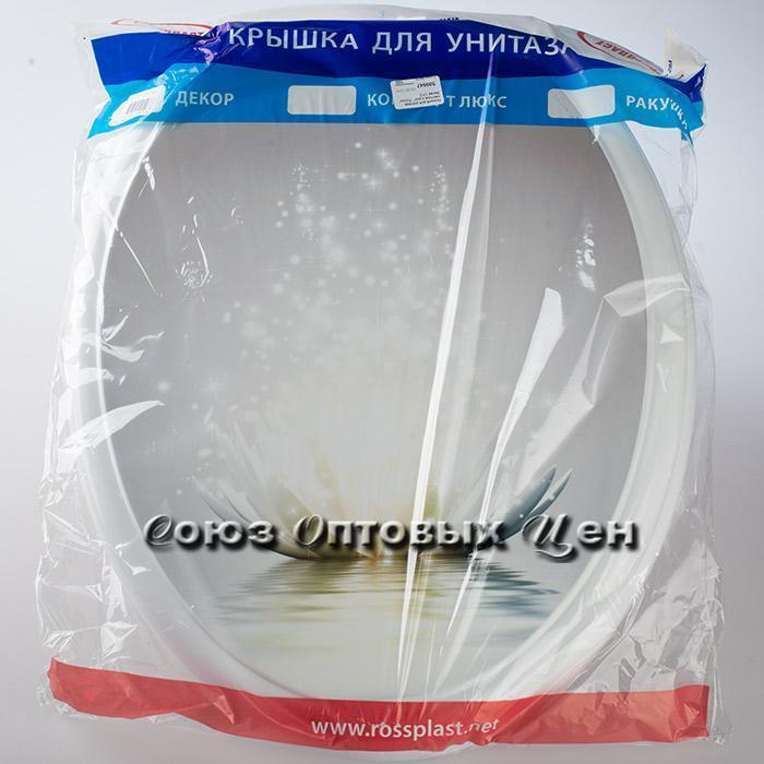 """Крышка для унитаза жесткое с рис"""" """"Лотос"""" белая 1/10"""
